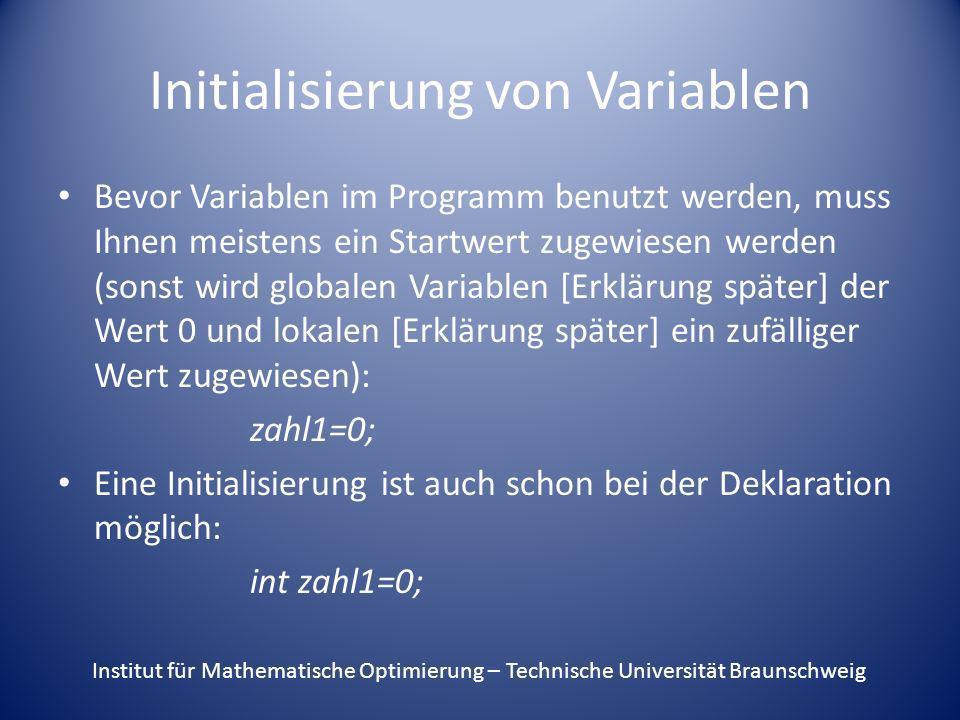 Initialisierung von Variablen