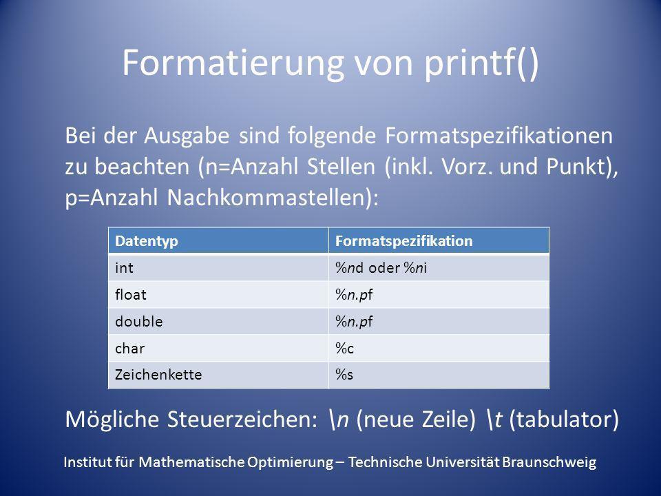 Formatierung von printf()