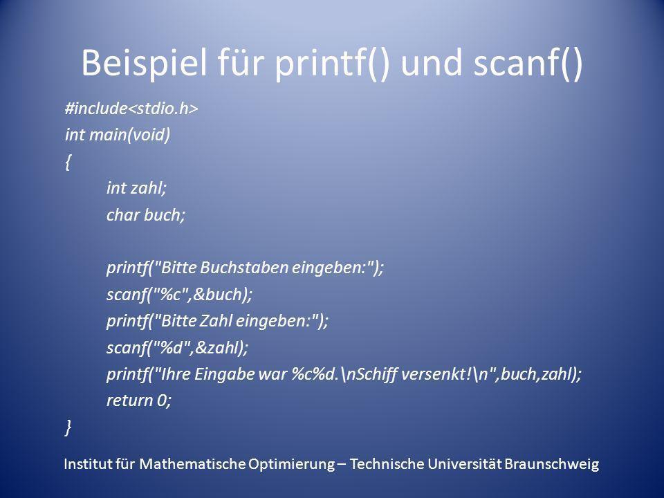 Beispiel für printf() und scanf()