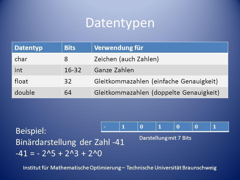 Datentypen Beispiel: Binärdarstellung der Zahl -41