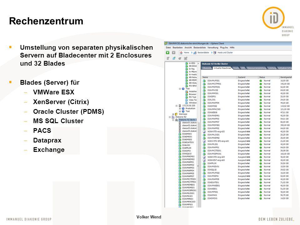 Rechenzentrum Umstellung von separaten physikalischen Servern auf Bladecenter mit 2 Enclosures und 32 Blades.