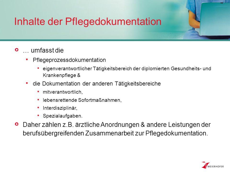 Inhalte der Pflegedokumentation