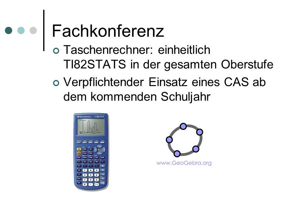 Fachkonferenz Taschenrechner: einheitlich TI82STATS in der gesamten Oberstufe.