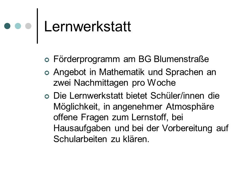 Lernwerkstatt Förderprogramm am BG Blumenstraße