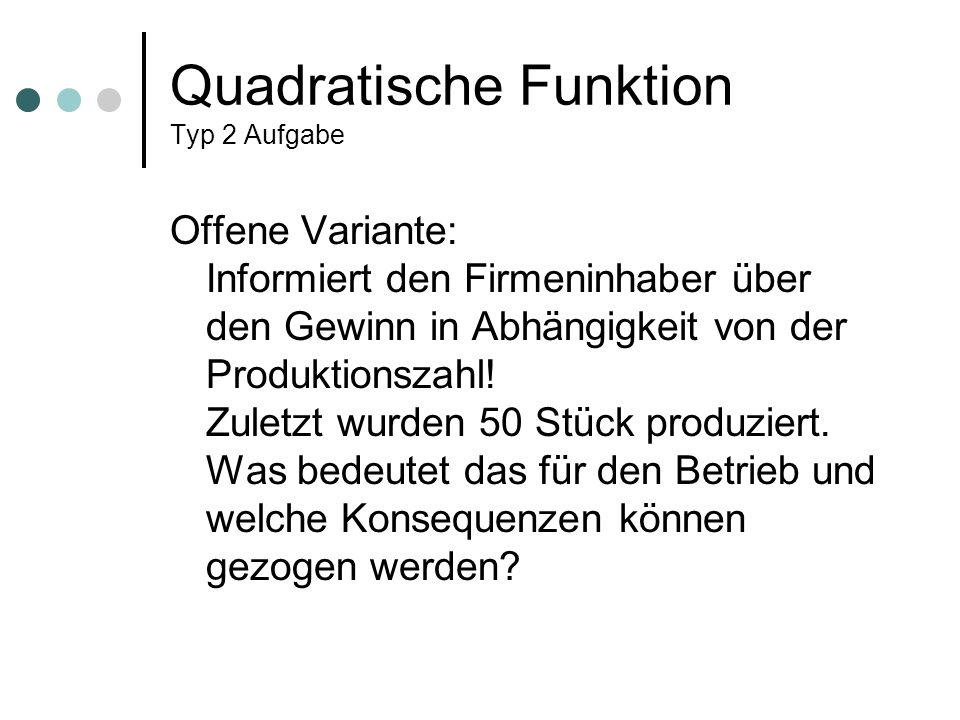 Quadratische Funktion Typ 2 Aufgabe