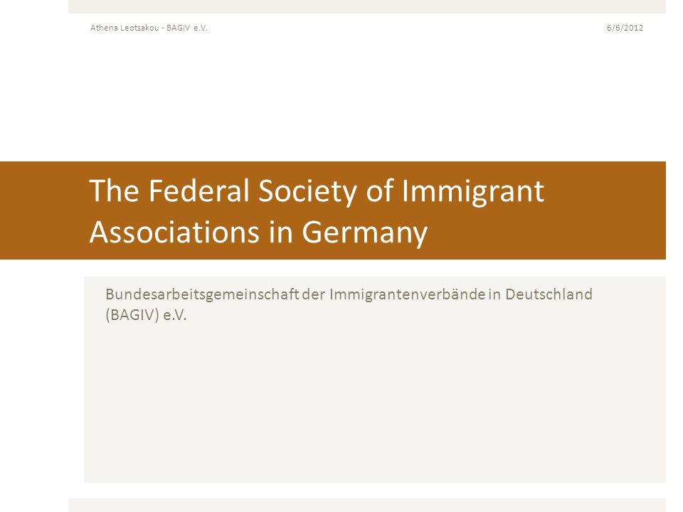 The Federal Society of Immigrant Associations in Germany