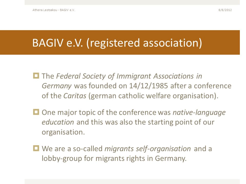 BAGIV e.V. (registered association)