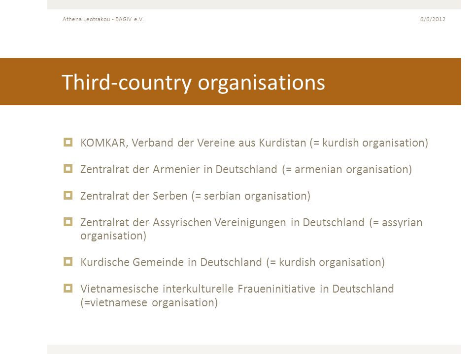 Third-country organisations