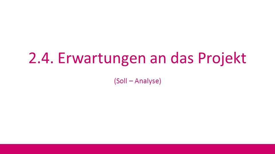 2.4. Erwartungen an das Projekt (Soll – Analyse)