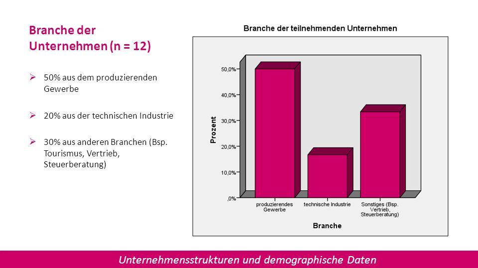 Branche der Unternehmen (n = 12)