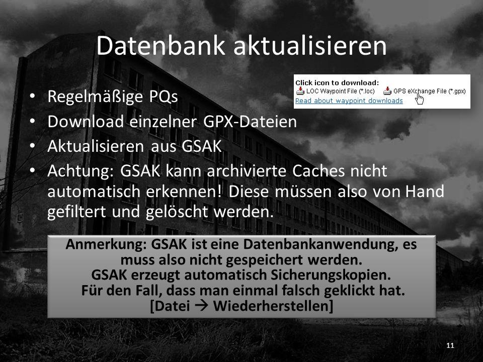 Datenbank aktualisieren
