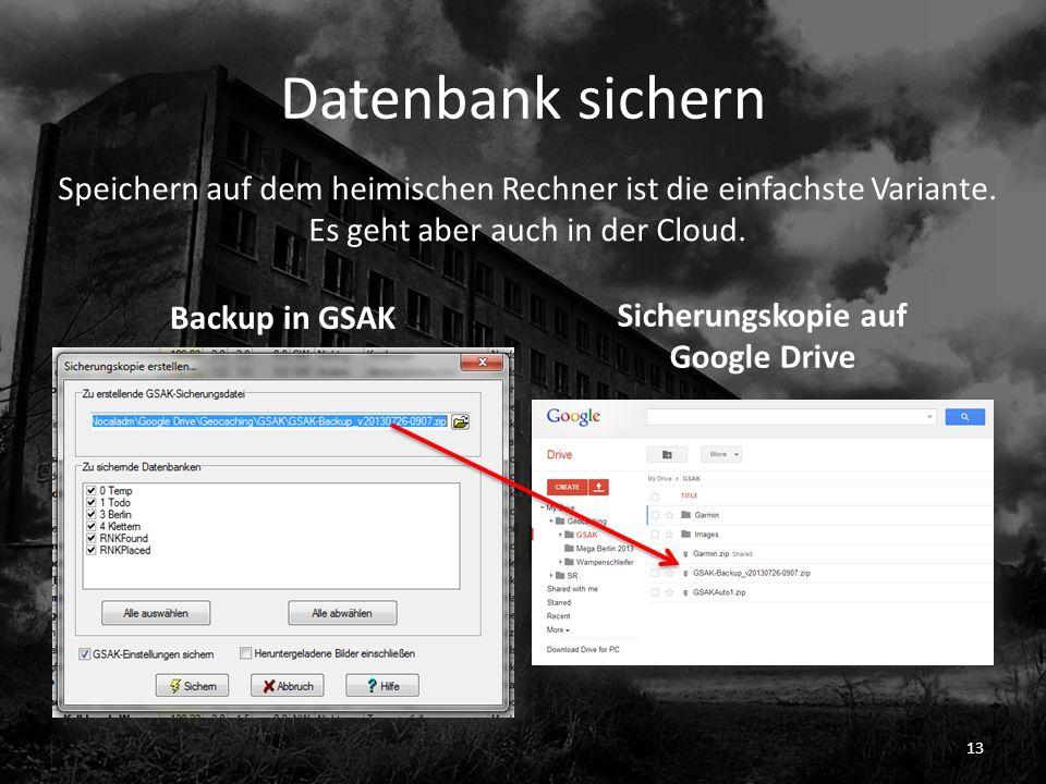 Sicherungskopie auf Google Drive