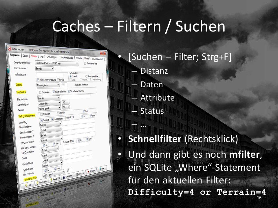 Caches – Filtern / Suchen