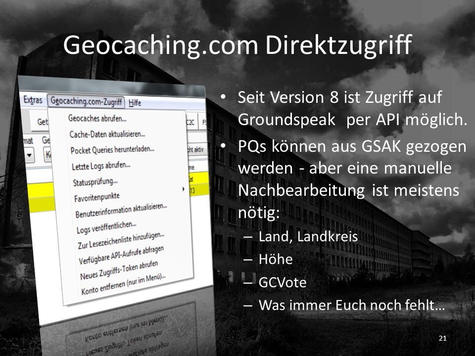 Geocaching.com Direktzugriff