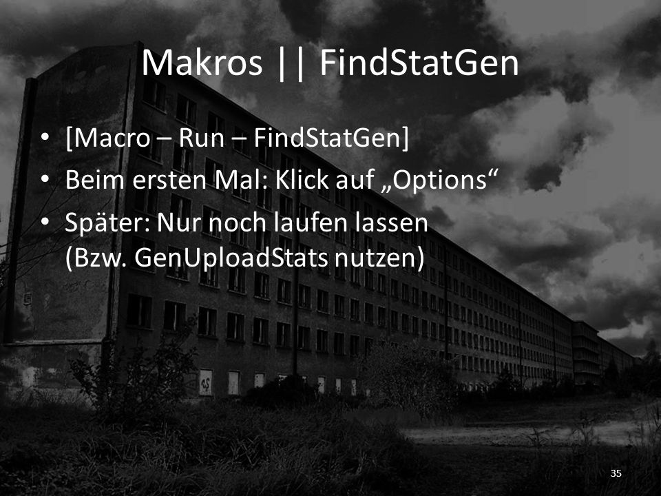 Makros || FindStatGen [Macro – Run – FindStatGen]