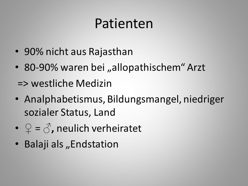 Patienten 90% nicht aus Rajasthan