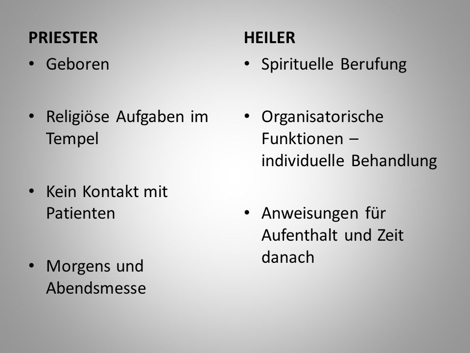 PRIESTER Geboren. Religiöse Aufgaben im Tempel. Kein Kontakt mit Patienten. Morgens und Abendsmesse.