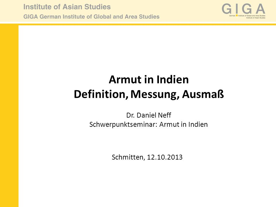 Armut in Indien Definition, Messung, Ausmaß Dr