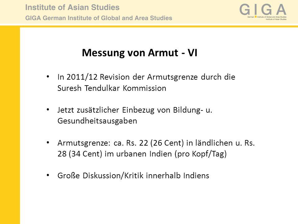Messung von Armut - VI In 2011/12 Revision der Armutsgrenze durch die Suresh Tendulkar Kommission.