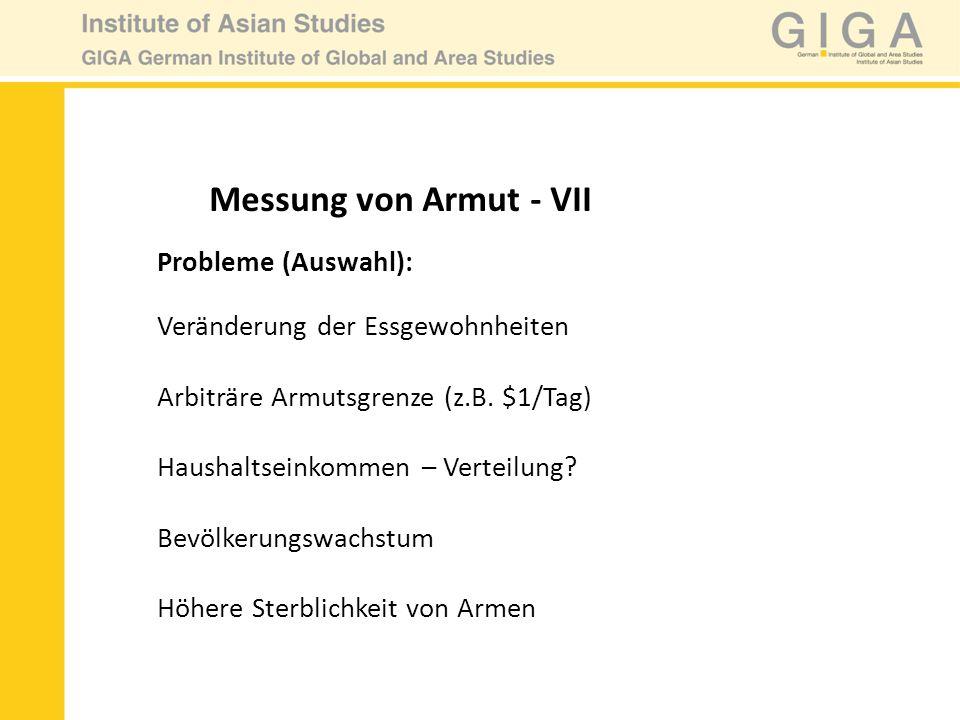Messung von Armut - VII Probleme (Auswahl):