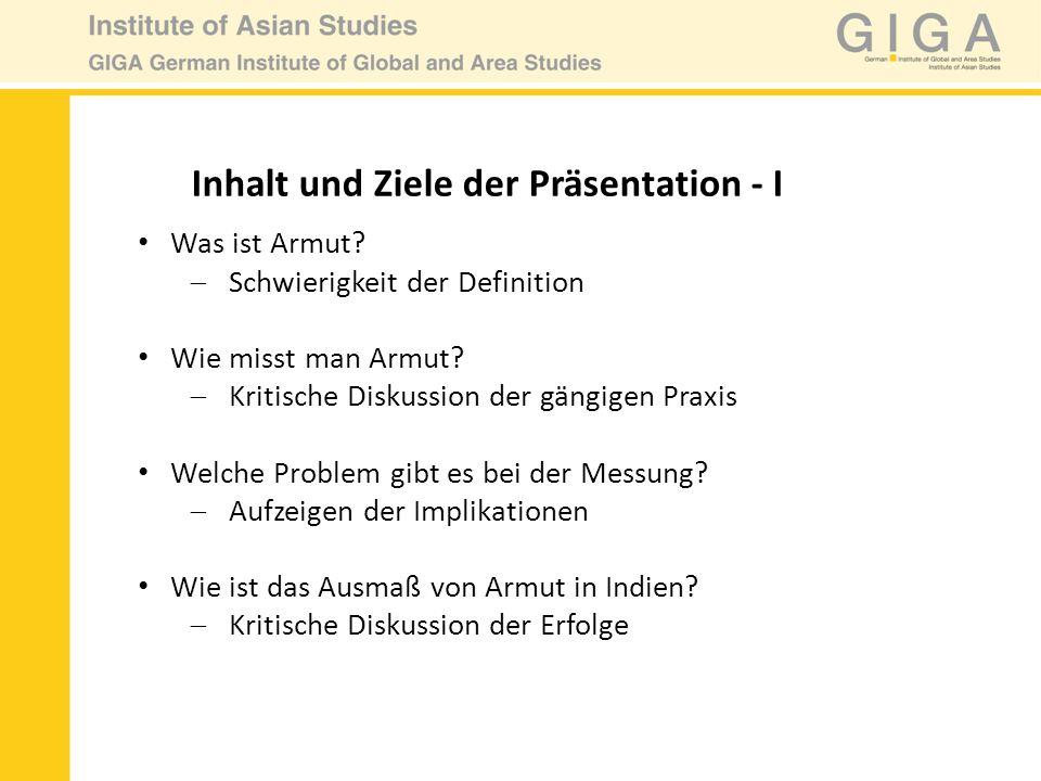 Inhalt und Ziele der Präsentation - I