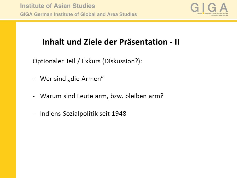 Inhalt und Ziele der Präsentation - II