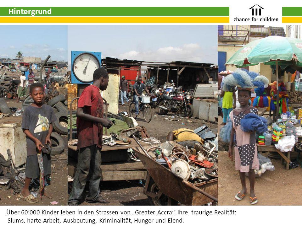 """HintergrundÜber 60'000 Kinder leben in den Strassen von """"Greater Accra . Ihre traurige Realität:"""
