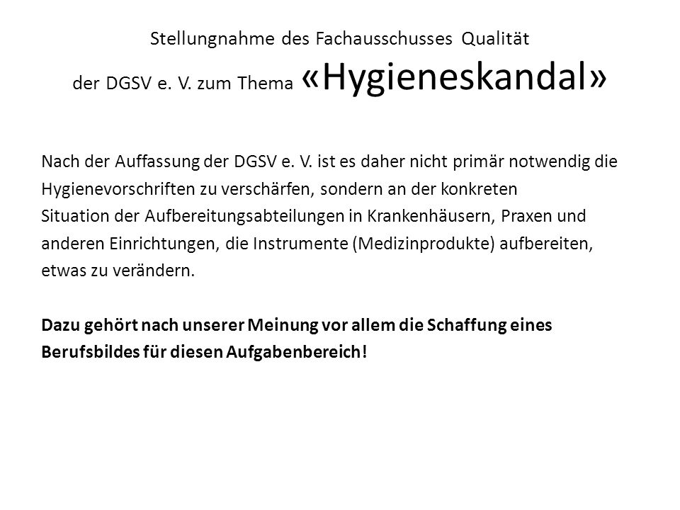 Stellungnahme des Fachausschusses Qualität der DGSV e. V