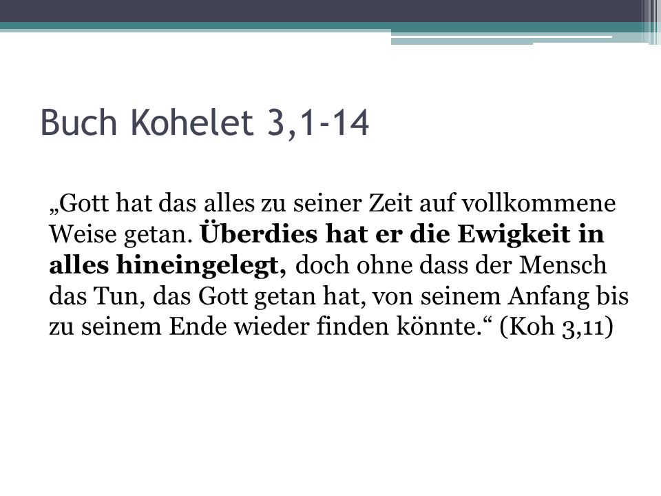 Buch Kohelet 3,1-14