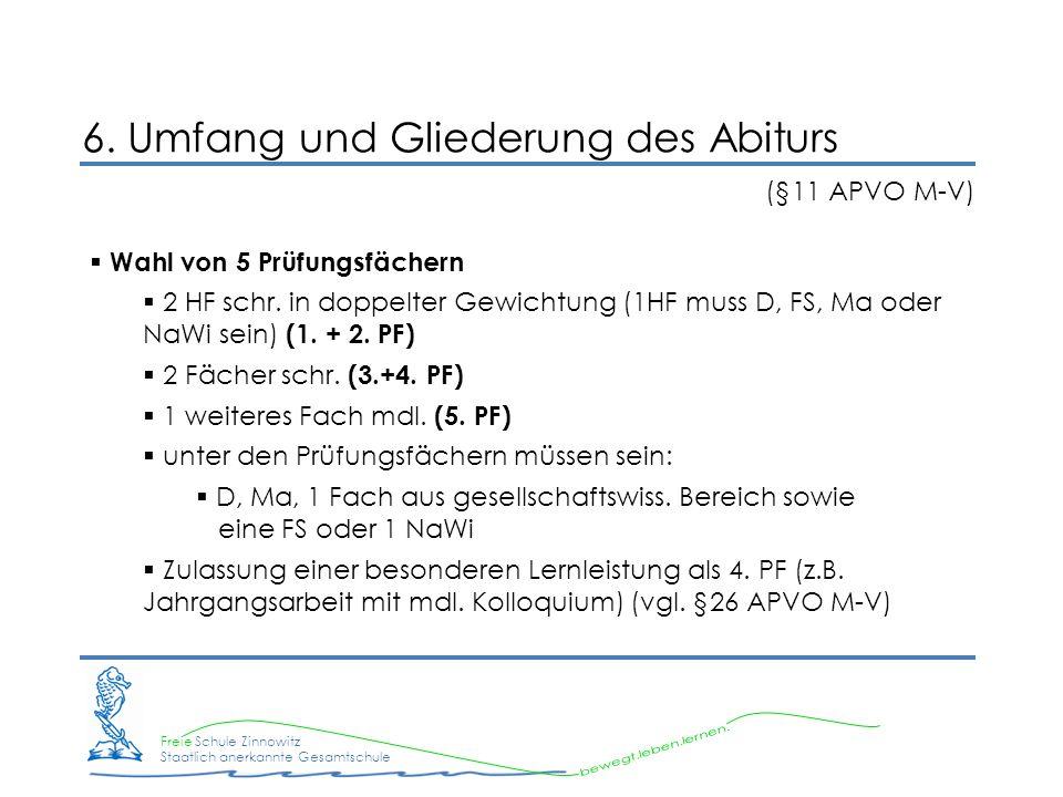 6. Umfang und Gliederung des Abiturs (§11 APVO M-V)