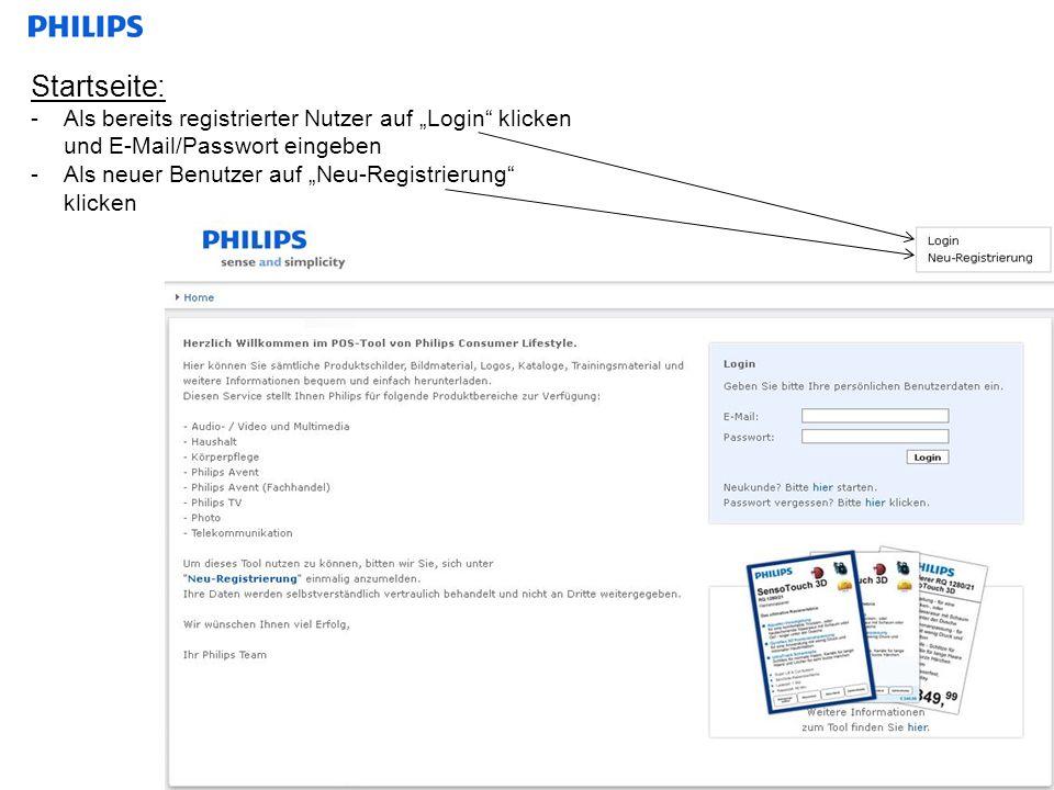 """Startseite:Als bereits registrierter Nutzer auf """"Login klicken und E-Mail/Passwort eingeben."""