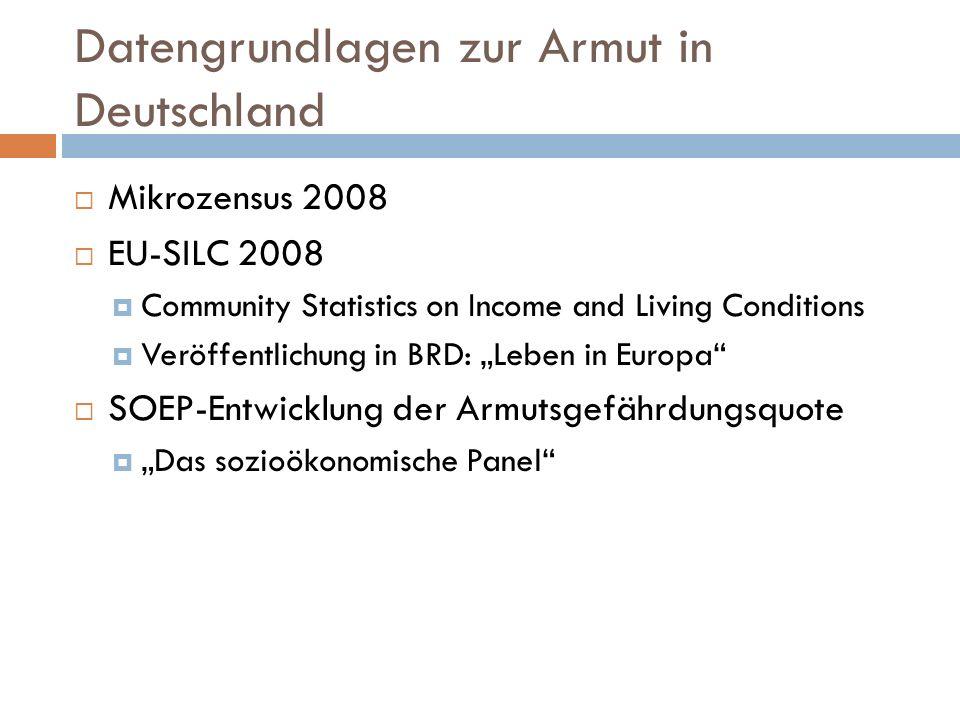 Datengrundlagen zur Armut in Deutschland