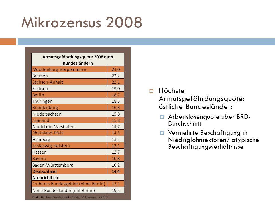 Mikrozensus 2008 Höchste Armutsgefährdungsquote: östliche Bundesländer: Arbeitslosenquote über BRD- Durchschnitt.