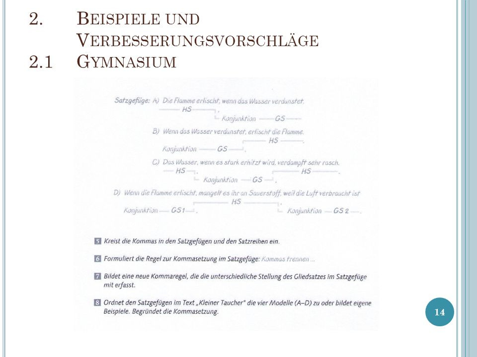 2. Beispiele und Verbesserungsvorschläge 2.1 Gymnasium