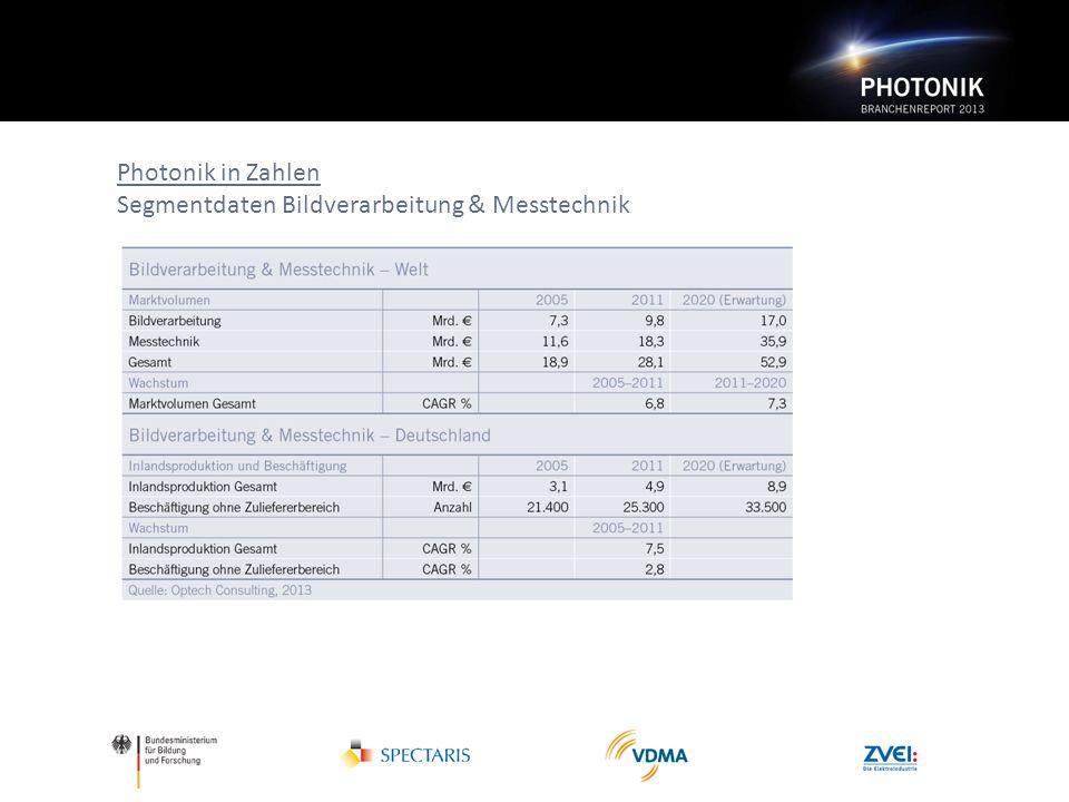 Photonik in Zahlen Segmentdaten Bildverarbeitung & Messtechnik