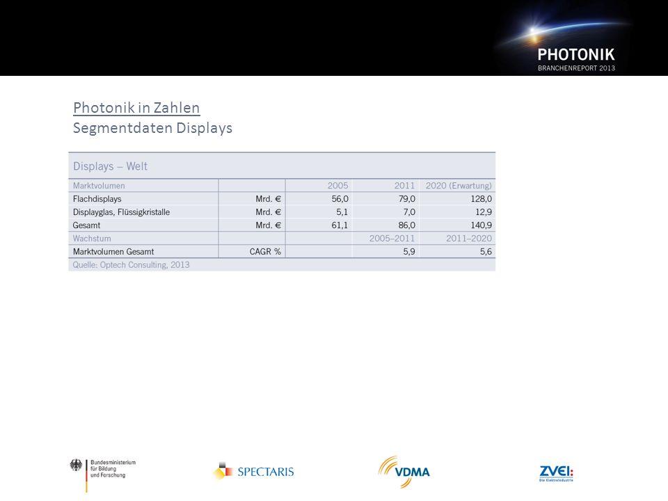 Photonik in Zahlen Segmentdaten Displays