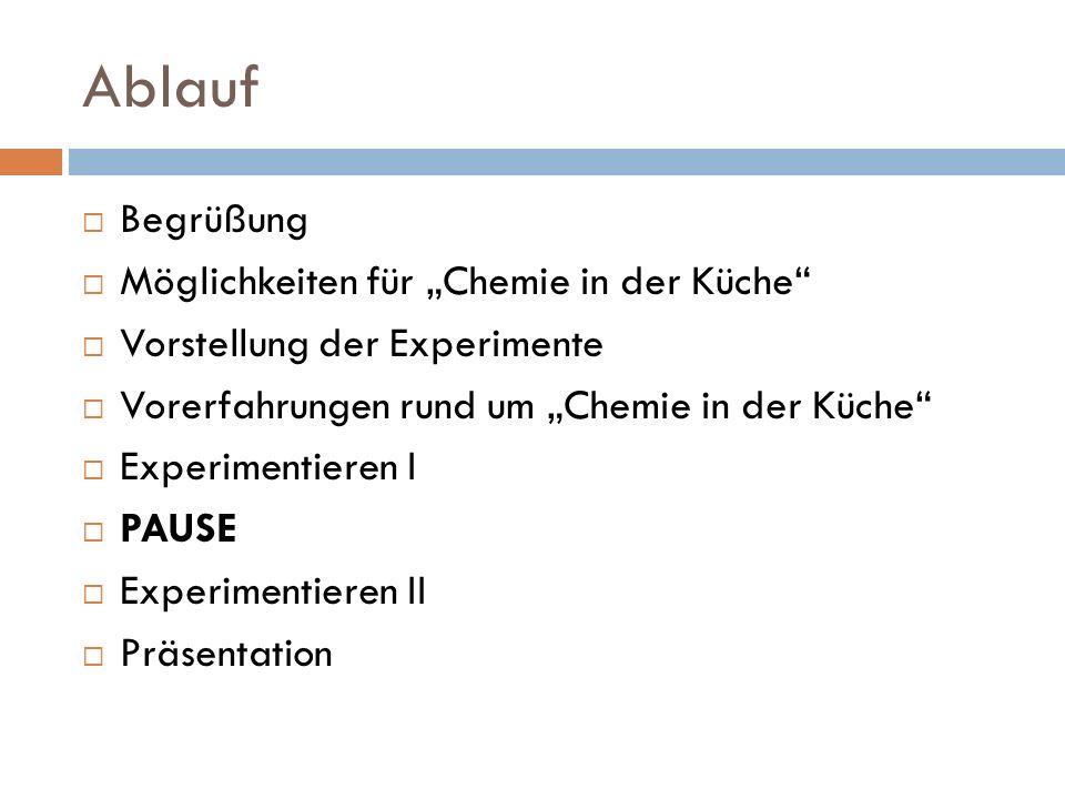 """Ablauf Begrüßung Möglichkeiten für """"Chemie in der Küche"""