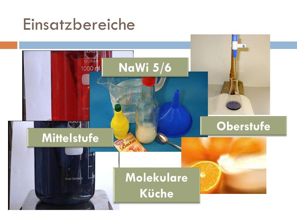 Einsatzbereiche NaWi 5/6 Oberstufe Mittelstufe Molekulare Küche