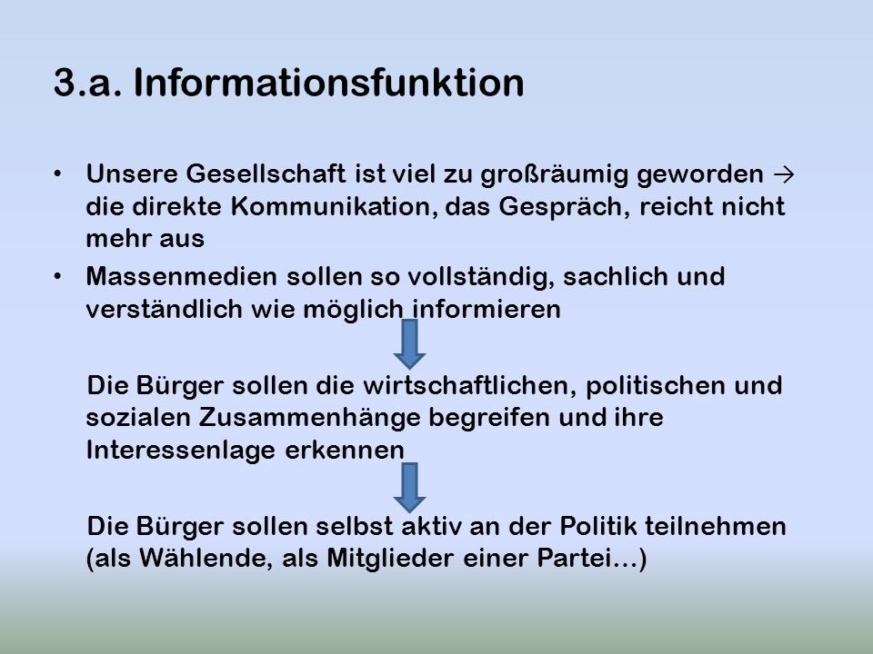 3.a. Informationsfunktion