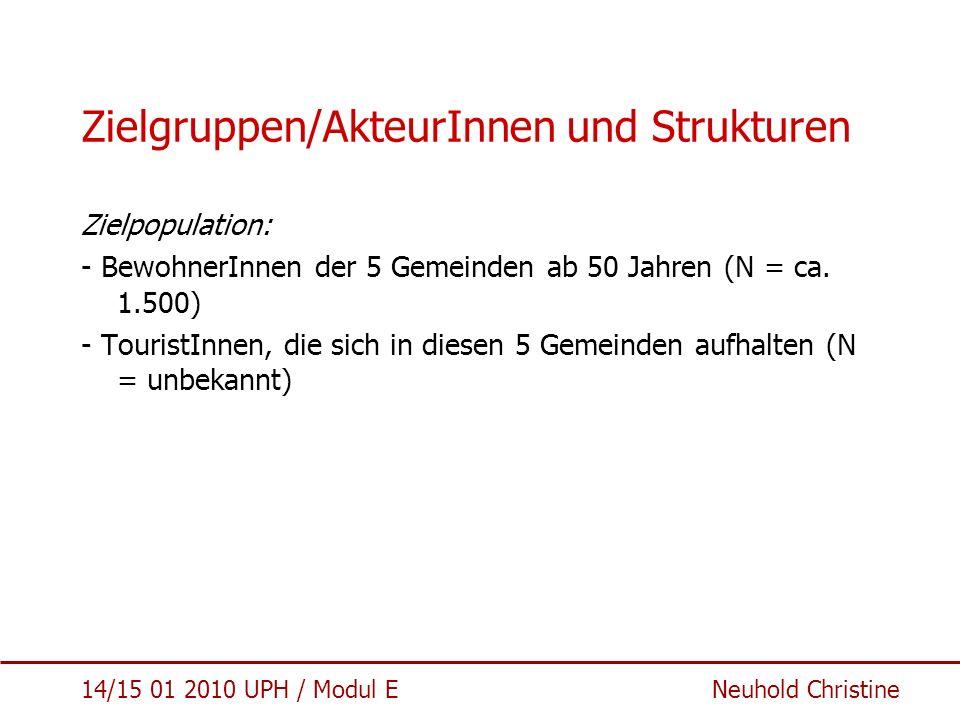 Zielgruppen/AkteurInnen und Strukturen