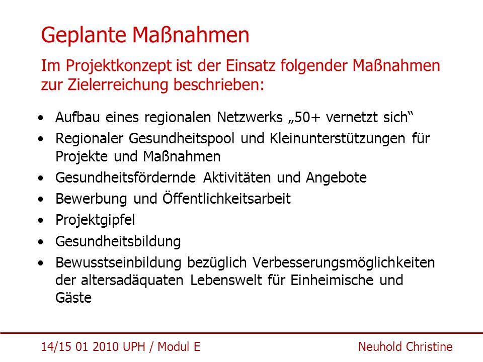 Geplante Maßnahmen Im Projektkonzept ist der Einsatz folgender Maßnahmen zur Zielerreichung beschrieben: