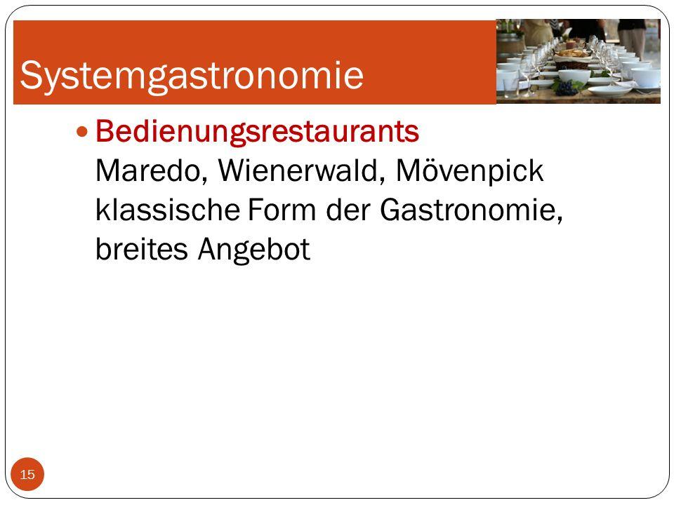 Systemgastronomie Bedienungsrestaurants Maredo, Wienerwald, Mövenpick klassische Form der Gastronomie, breites Angebot.