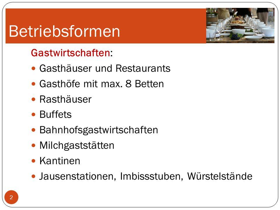 Betriebsformen Gastwirtschaften: Gasthäuser und Restaurants