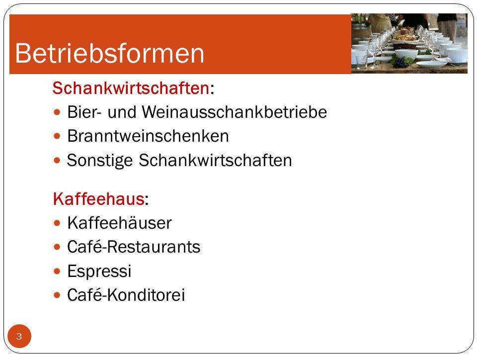 Betriebsformen Schankwirtschaften: Bier- und Weinausschankbetriebe
