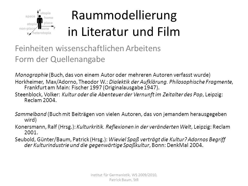 Raummodellierung in Literatur und Film