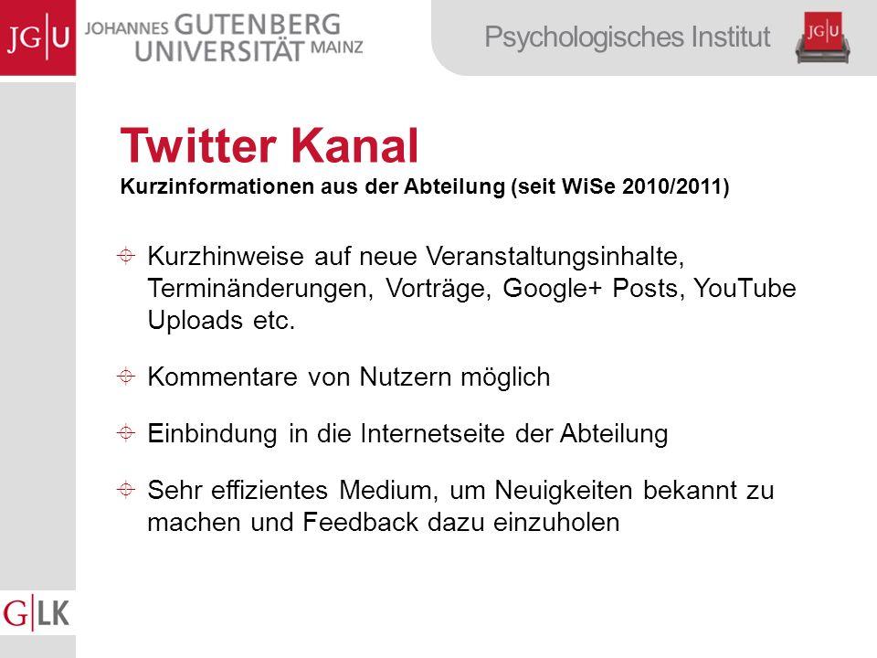 Twitter Kanal Kurzinformationen aus der Abteilung (seit WiSe 2010/2011)