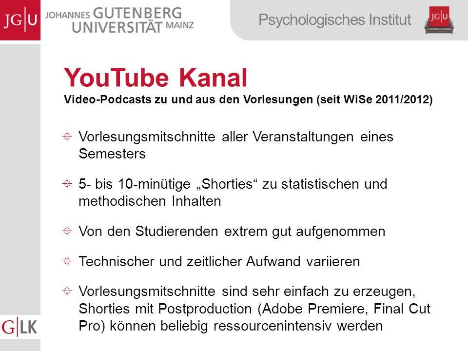 YouTube Kanal Video-Podcasts zu und aus den Vorlesungen (seit WiSe 2011/2012) Vorlesungsmitschnitte aller Veranstaltungen eines Semesters.