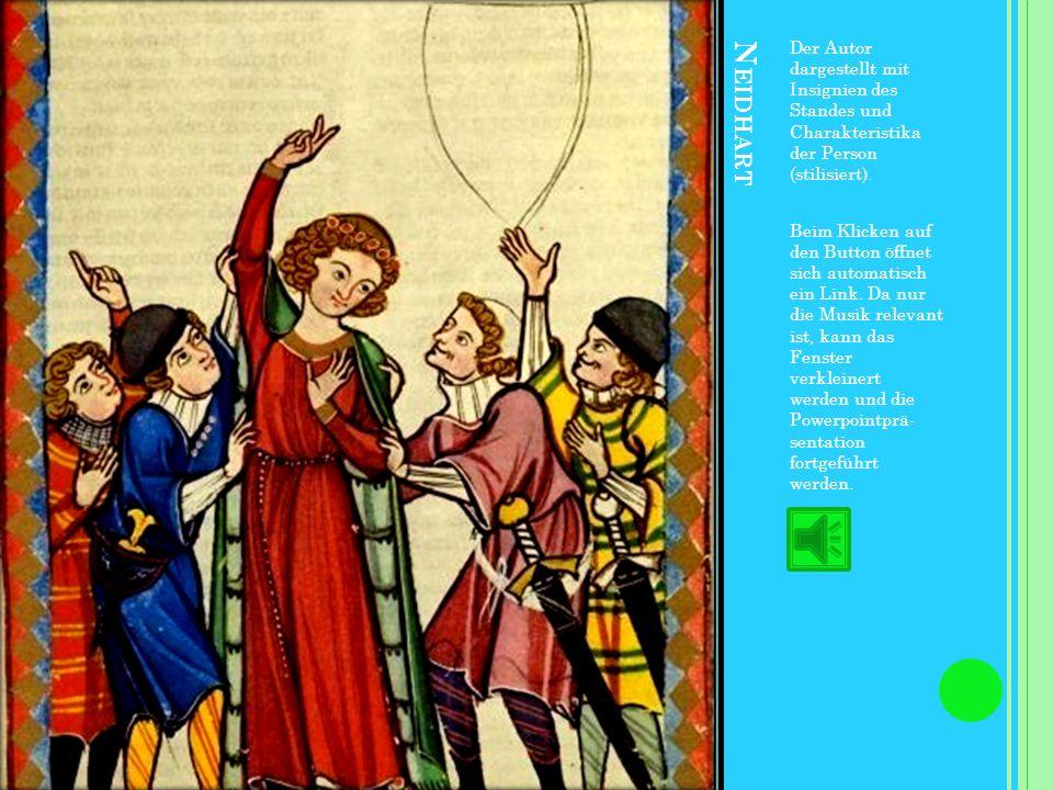 Der Autor dargestellt mit Insignien des Standes und Charakteristika der Person (stilisiert).