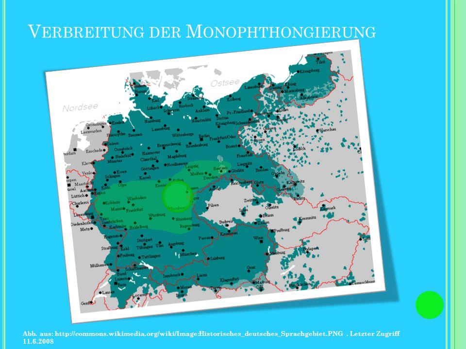 Verbreitung der Monophthongierung