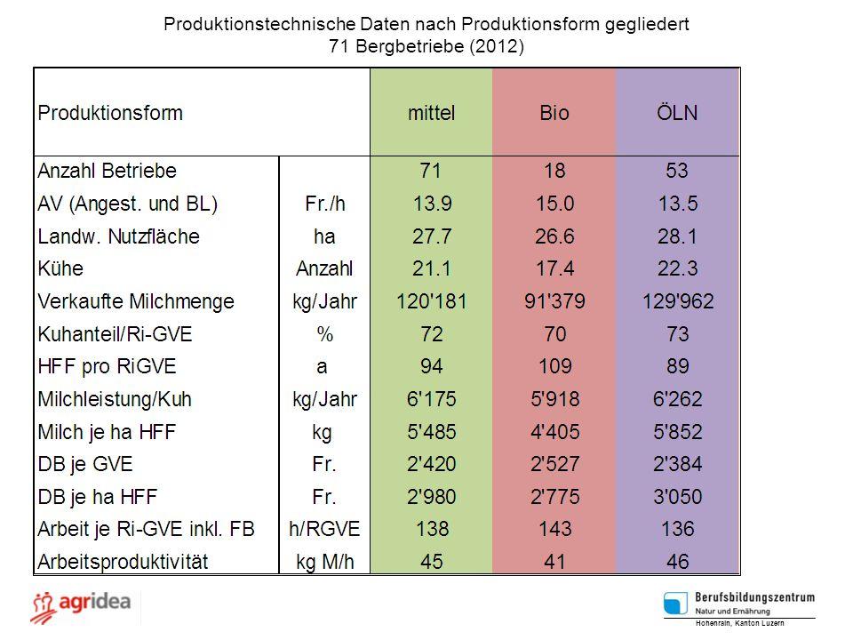 Produktionstechnische Daten nach Produktionsform gegliedert